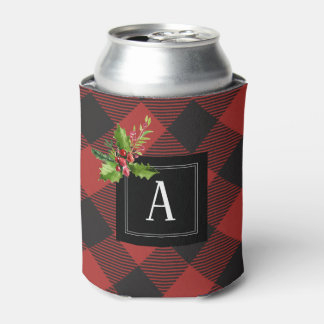 Red and Black Buffalo Plaid Can Cooler