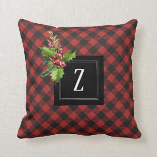 Red and Black Buffalo Plaid  Christmas Monogram Cushion