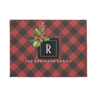 Red and Black Buffalo Plaid  Christmas Monogram Doormat