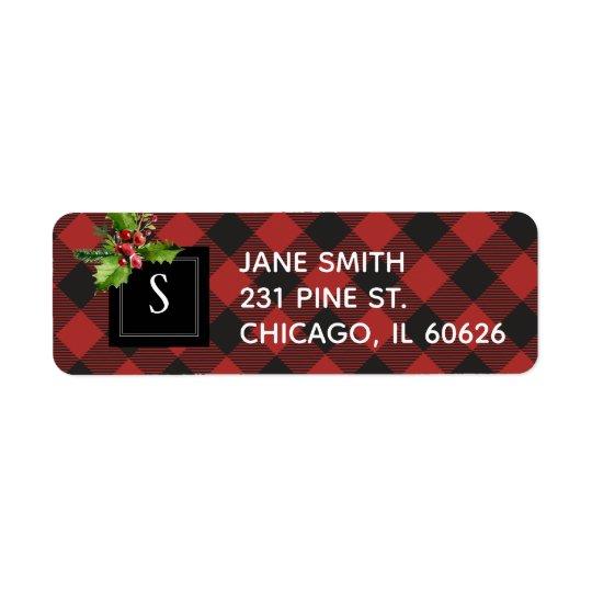 Red and Black Buffalo Plaid  Christmas Monogram Return Address Label