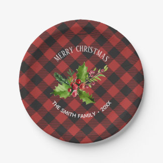 Red and Black Buffalo Plaid  Christmas Paper Plate