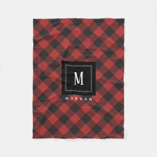 Red and Black Buffalo Plaid Monogram Fleece Blanket
