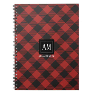 Red and Black Buffalo Plaid Monogram Notebooks