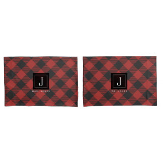 Red and Black Buffalo Plaid Monogram Pillowcase