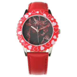 Red and Black Cat Watch