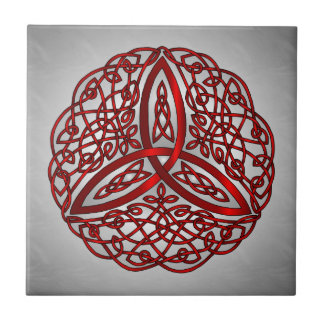 Red and Black Celtic Art Trinity Knot Tile