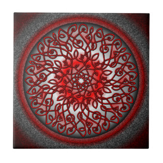 Red and Black Celtic Burst Small Square Tile