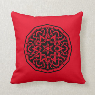Red And Black Celtic Design Cushion