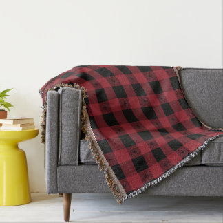 Red And Black Celtic Plaid Throw Blanket