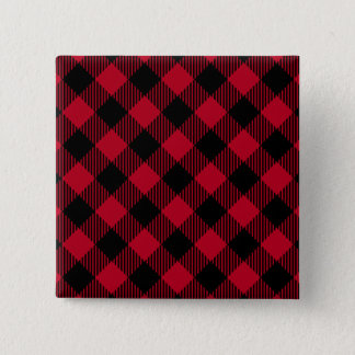 Red And Black Check Buffalo Plaid Pattern 15 Cm Square Badge