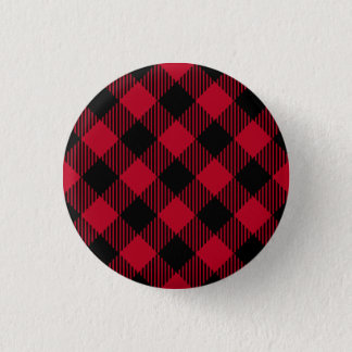 Red And Black Check Buffalo Plaid Pattern 3 Cm Round Badge