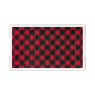 Red And Black Check Buffalo Plaid Pattern Acrylic Tray