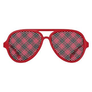 Red And Black Check Buffalo Plaid Pattern Aviator Sunglasses