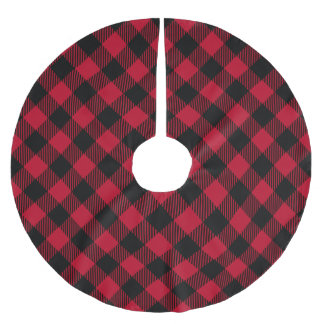 Red And Black Check Buffalo Plaid Pattern Brushed Polyester Tree Skirt