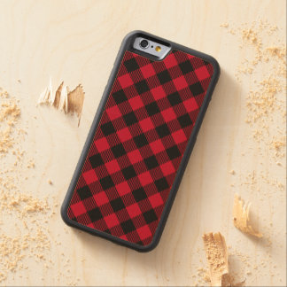 Red And Black Check Buffalo Plaid Pattern Carved Maple iPhone 6 Bumper Case