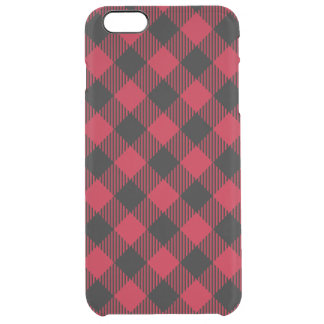 Red And Black Check Buffalo Plaid Pattern Clear iPhone 6 Plus Case
