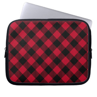 Red And Black Check Buffalo Plaid Pattern Laptop Sleeve