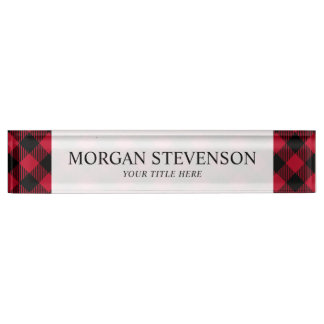 Red And Black Check Buffalo Plaid Pattern Name Plate