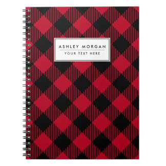 Red And Black Check Buffalo Plaid Pattern Notebook