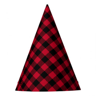 Red And Black Check Buffalo Plaid Pattern Party Hat