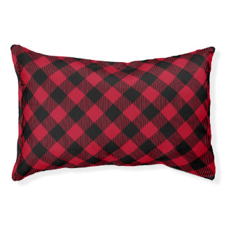 Red And Black Check Buffalo Plaid Pattern Pet Bed