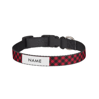 Red And Black Check Buffalo Plaid Pattern Pet Collar