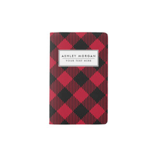 Red And Black Check Buffalo Plaid Pattern Pocket Moleskine Notebook