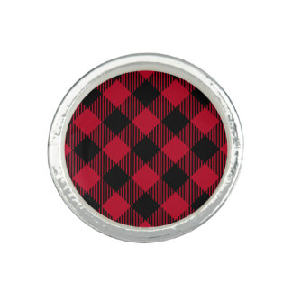 Red And Black Check Buffalo Plaid Pattern Ring