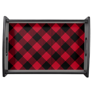 Red And Black Check Buffalo Plaid Pattern Serving Tray