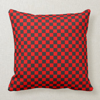 Red And Black Checkered Pattern Throw Pillow