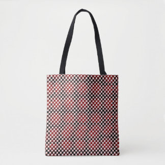 red and black checkered squares tote bag