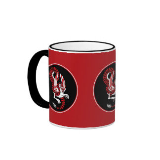 Red and Black Chinese Dragon Mugs