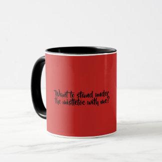Red and Black Coffee Mug, Mistletoe Mug