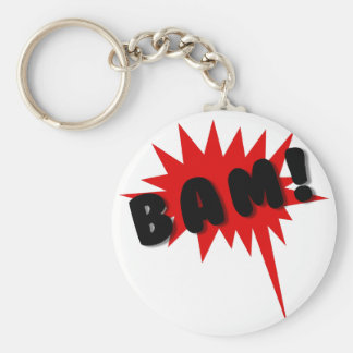 Red and black comics text and burst design BAM! Key Ring
