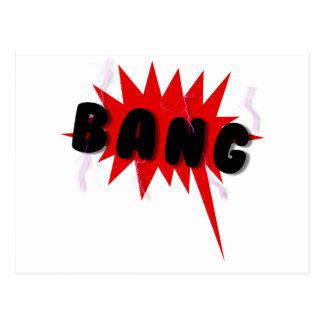 Red and black comics text and burst design BANG Postcard