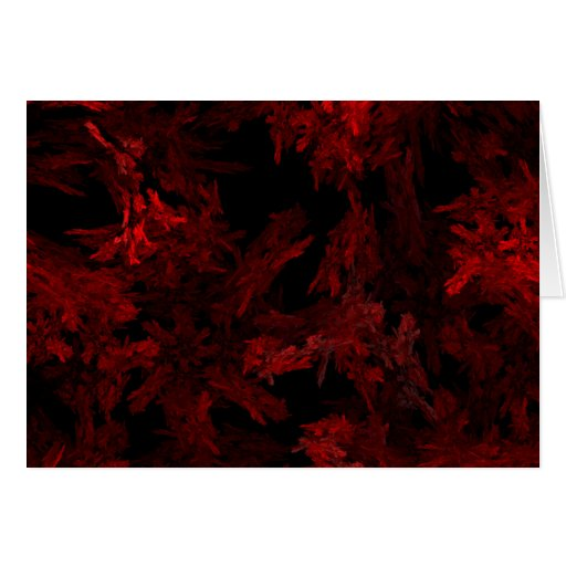 Red and Black Coral Fractal Flame Greeting Card