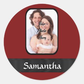 Red and black custom photo round sticker