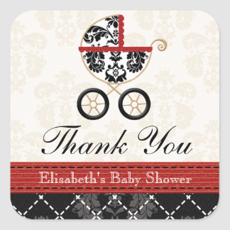 RED and Black Damask Baby Carriage Thank You Stickers