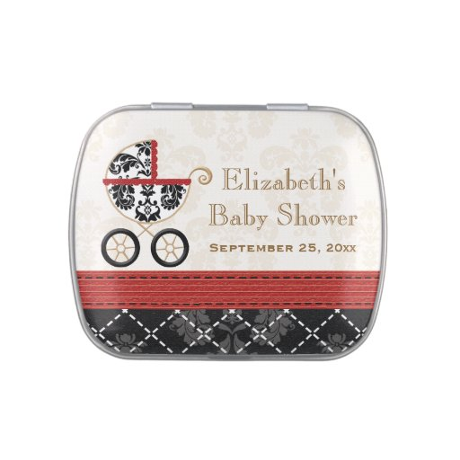 RED and Black DAMASK Carriage Baby Shower Favor Jelly Belly Candy Tins