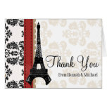 RED AND BLACK DAMASK EIFFEL TOWER THANK YOU NOTE CARD