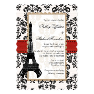 Red and Black Damask Eiffel Tower Wedding 13 Cm X 18 Cm Invitation Card