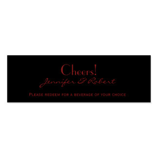 Red and Black Damask Gothic Wedding Drink Ticket Business Cards