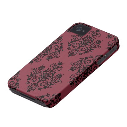 Red and Black Damask Pattern Blackberry Bold Cases
