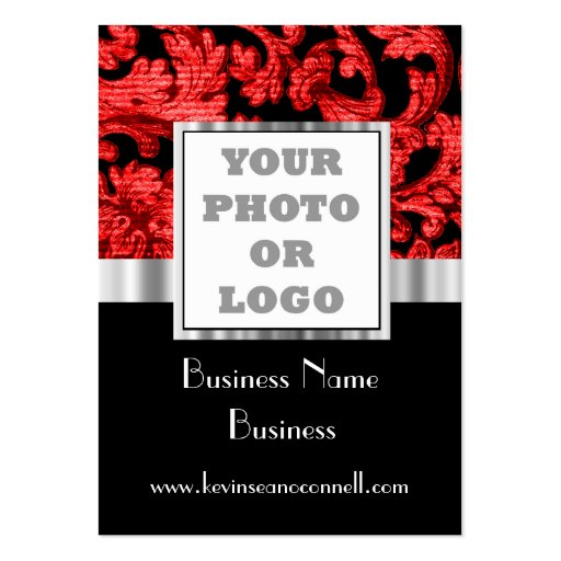 Red and black damask photo logo business card