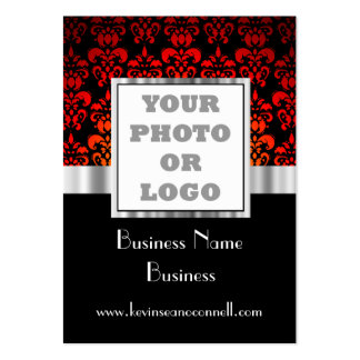 Red and black damask   photo logo pack of chubby business cards
