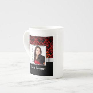 Red and black damask photo template bone china mug