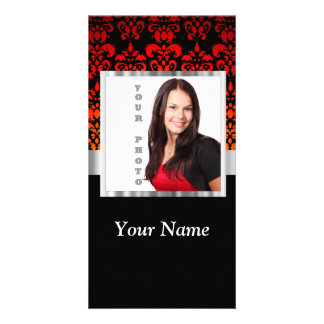 Red and black damask photo template photo cards