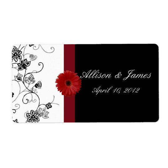 Red and Black Damask Red Gerbera DaisyWine Label