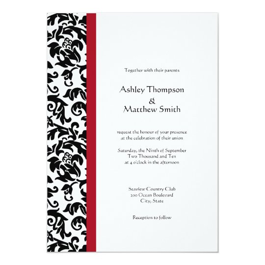 red and black wedding invitations and black damask wedding invitations zazzle au 6992