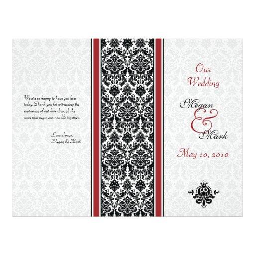 Red and Black Damask Wedding Program Custom Flyer